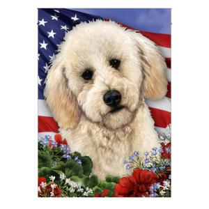4th of July, Garden Flag, Labradoodle Flag, American Flag, Canvas Material - Woastuff