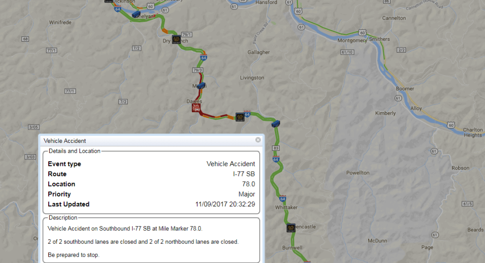 I 77 West Virginia Map.West Virginia Detour A In Place After Fatal Wreck On Interstate 77