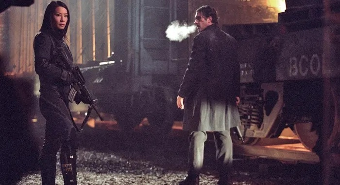Lucy Liu as Sever and Antonio Banderas as Ecks in Ballistic: Ecks vs Sever