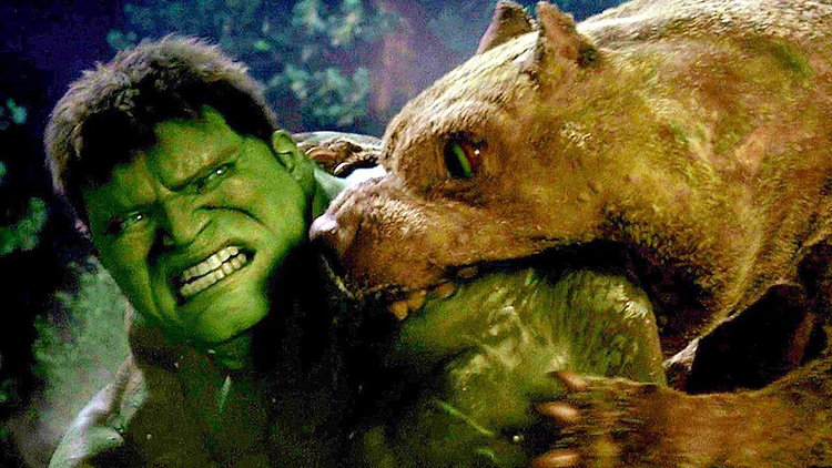 The Hulk takes on Mutant Dogs in Ang Lee's 2003 Film
