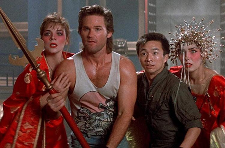 Gracie Law (Kim Cattrall), Jack Burton (Kurt Russell), Wang Chi (Dennis Dun), and Miao Yin (Suzee Pai) in Big Trouble in Little China
