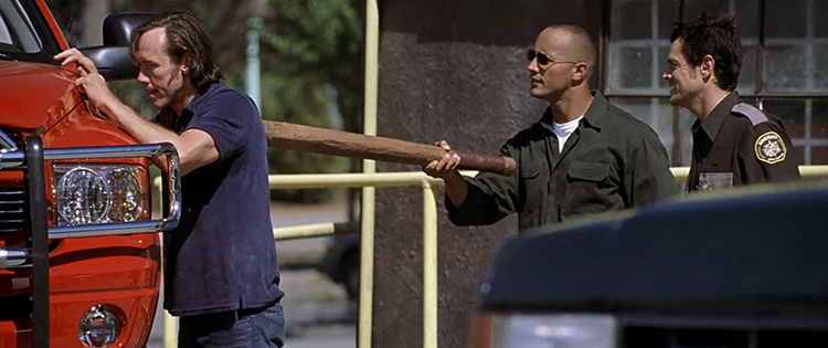 """The Rock Wielding His """"Pusser Stick"""" in Walking Tall"""