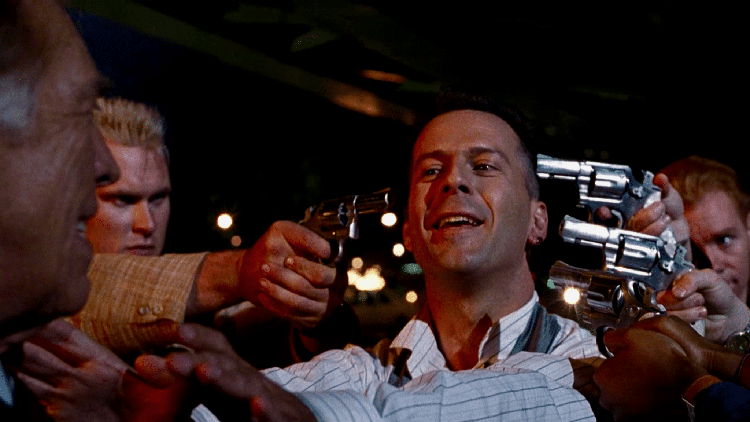 Bruce Willis as Hudson Hawk Faces Off Against the Candy Bar-Themed CIA Goons