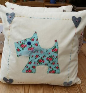 Dog silhouette cushion - could be a Scottie, could be a Schnauzer...