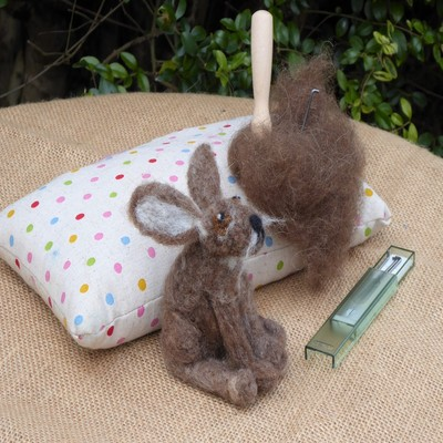 Needle felting a hare workshop