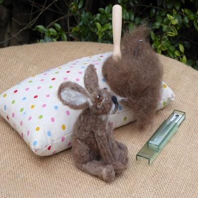 Needle felting a hare workshop