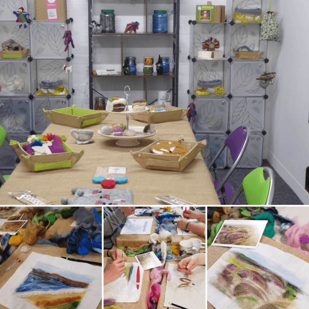 Wobbly Pins craft studio in Coalville, Leicestershire showing the crafts in progress