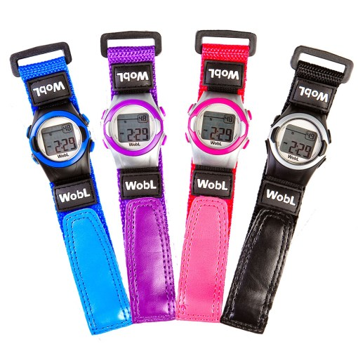 WobL alarm reminder watch comes in blue, purple, pink, and black
