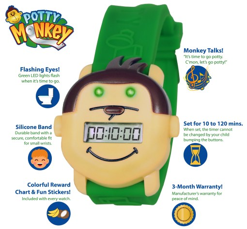Potty Monkey watch features: audible and lights alarm, manually set repeating countdown timer, potty reminder for potty and toilet training; free rewards chart and stickers included..