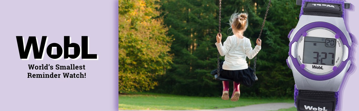 """WobL watch in purple with photo of young girl on a swing; text """"WobL Watch, World's Smallest Reminder Watch"""""""