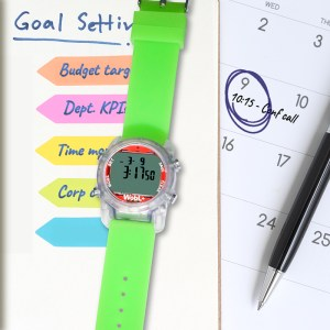 WobL+ watch in green; helpful at the office for meeting reminders.