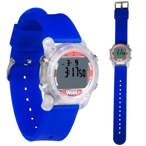 Blue WobL+ watch shown buckled and full length