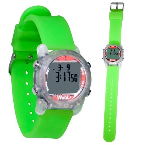 Green WobL+ watch shown buckled and full length