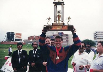 WOB Captain MarkNash Holding The Clover Cup After Defeating Stella 2-1 In 1994 The Game Played At CurriesFountain
