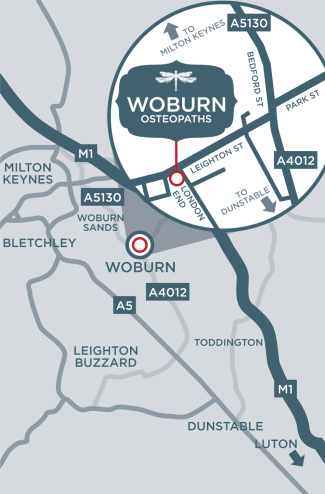 Woburn Osteopaths is located near to Woburn Sands, Milton Keynes, Leighton Buzzard, Bedford and Flitwick.