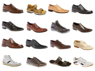 Sixteen man's shoes on a white background
