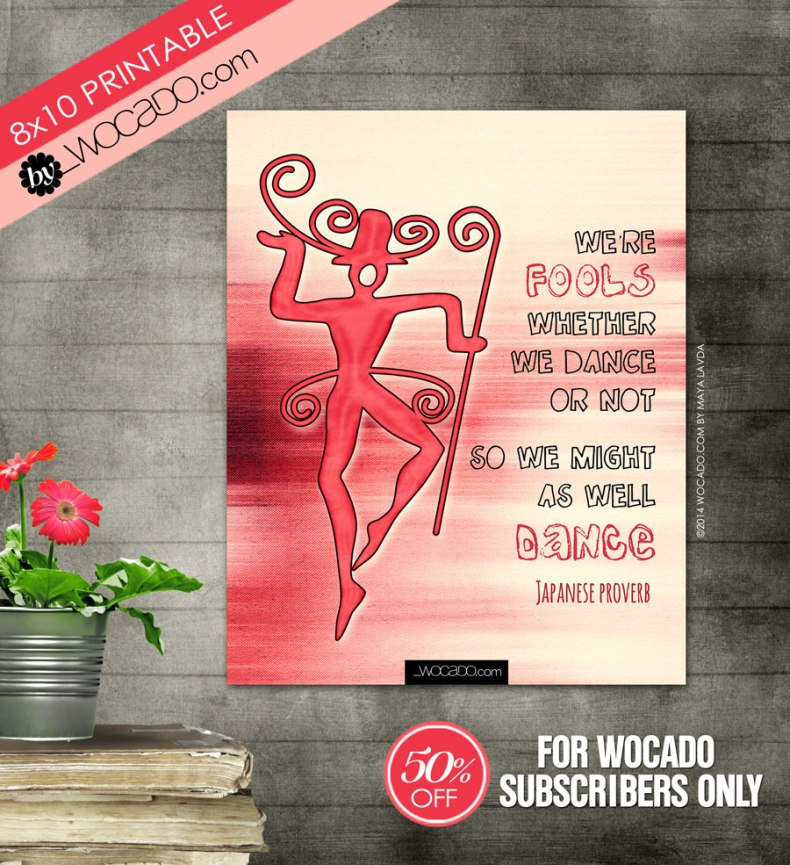 We are fools - 8x10 Printable by WOCADO (pink version)
