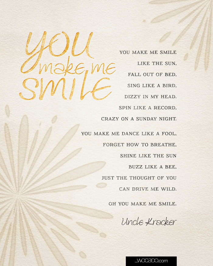 You make me smile uncle kracker lyrics 8x10 printable by wocado you make me smile printable 810 stopboris Image collections