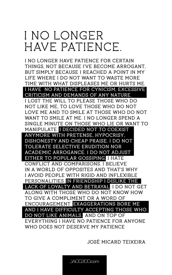 I No Longer Have Patience Quote U2013 Poster By WOCADO