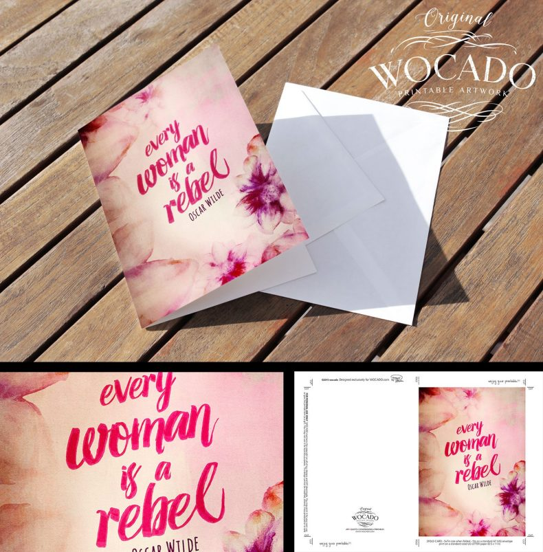 Every Woman is A Rebel - Oscar Wilde - 2fold Greeting Card by WOCADO - INSTANT DOWNLOAD