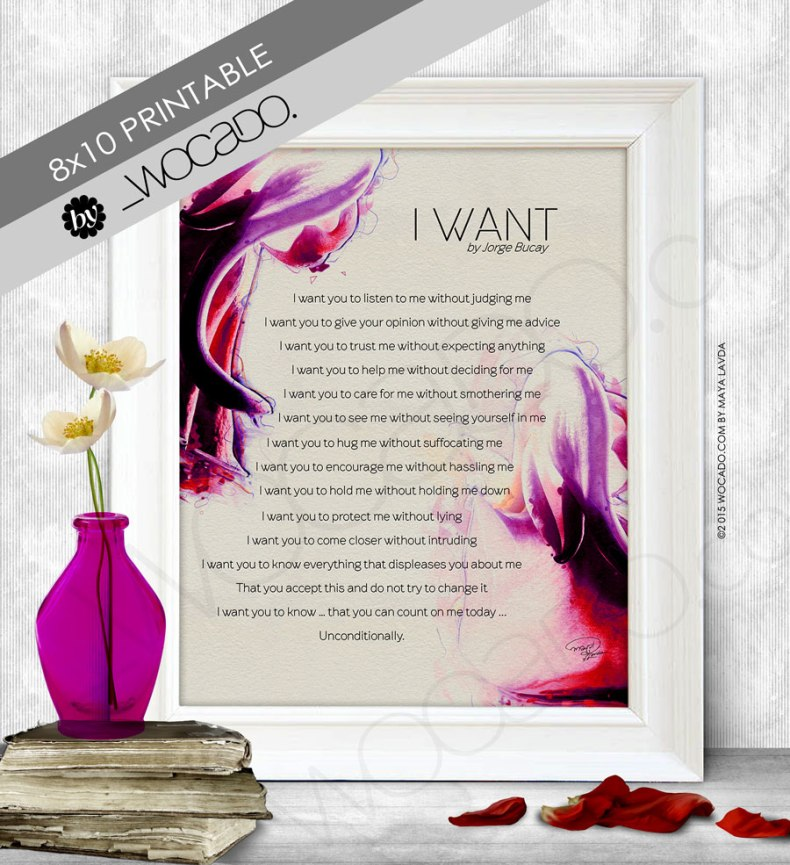 I want - Jorge Bucay Printable Poster (8x10)