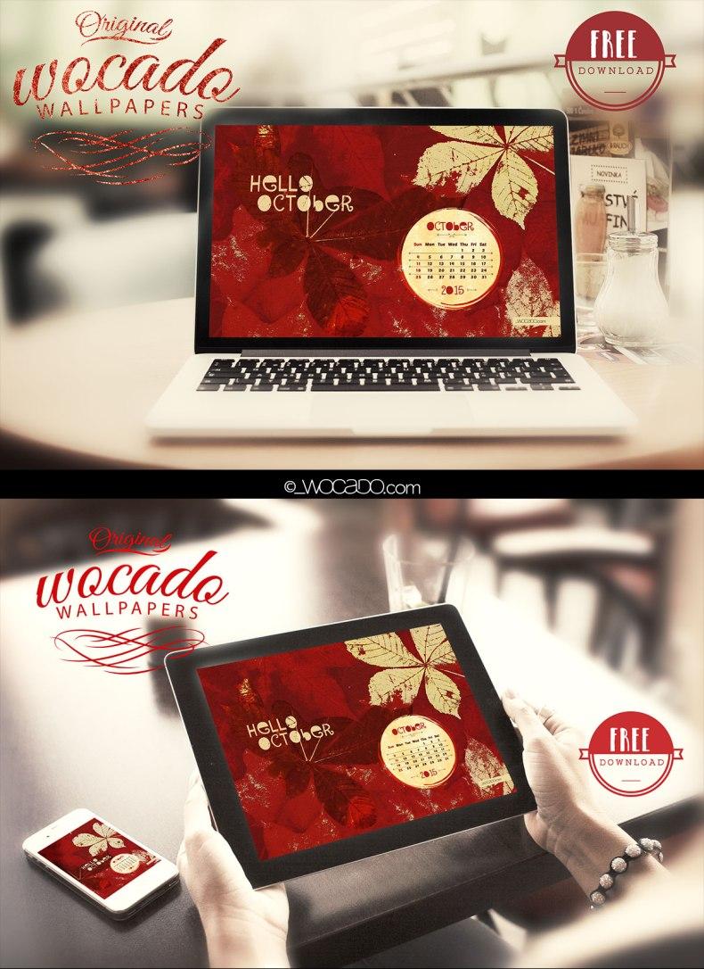 October 2015 Wallpaper Calendar by WOCADO - FREE Download