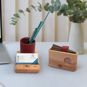 Porte cartes bois cuir tunisie