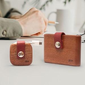 porte carte porte cables porte écouteurs cuir bordeau bois acajoux tunisie