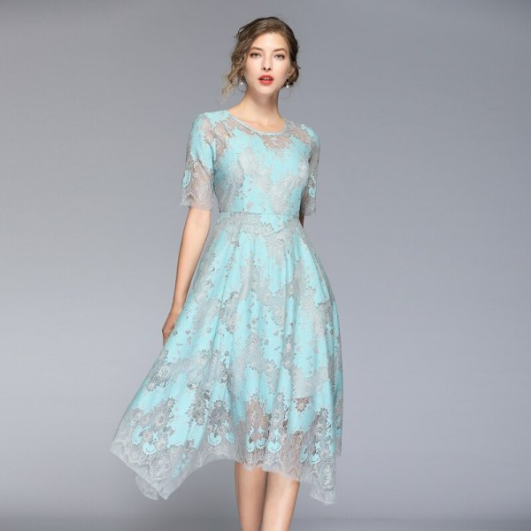 HAMALIEL High Quality Summer Women Lace Dress Vintage Runway Hit Color Half Sleeve Dress Fashion Print Hollow Out Midi Vestidos
