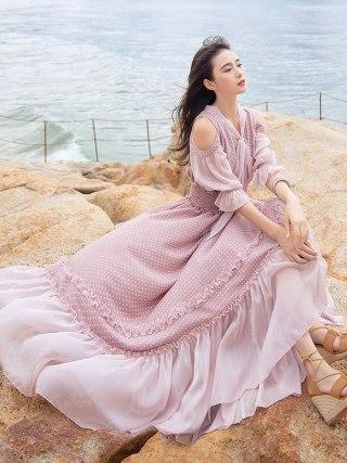 Free Shipping 19 Fashion Women Chiffon Long Maxi Ruffles Half Sleeve Dresses Summer Boshow Bohemian Dot Bandage Bow Dress S-L