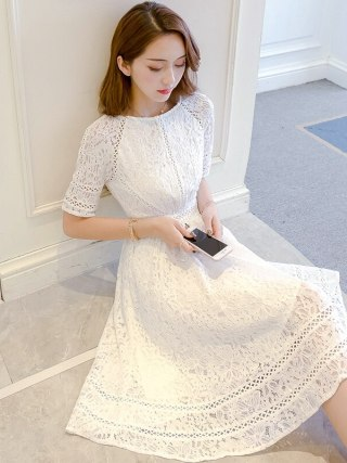Lace Half Sleeve Retro Summer Flower White Dress Women Hollow Out Knee-Length Slim Elegant Refined Evening Party Dress Vestidos