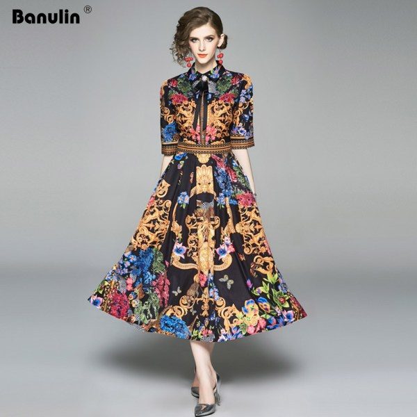 19 Summer Elegant Half Sleeve Dress Women Floral Print Runway Long Dress Fashions Button Diamonds Vintage Midi Dress B9119