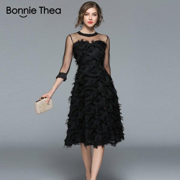 18 Autumn woman black Tassel Mesh Patchwork long dress female Sexy half Sleeve feather dress party Club lady dresses