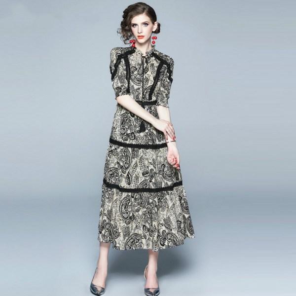 Vintage Print Lace Patchwork Chiffon Long Dress Women 19 Summer Lace-up O Neck Half Sleeve Ladies Dresses Casual Vestidos