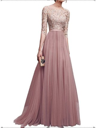 New Elegant Women Dresses Chiffon Female Floor-length Half Sleeve Maxi Dress Women Evening O-Neck Party Dresses
