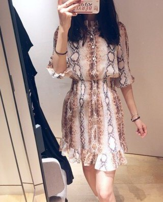 Women Mini Pleated Dress Snake Print Ruffle Half Sleeve Sweet Dress