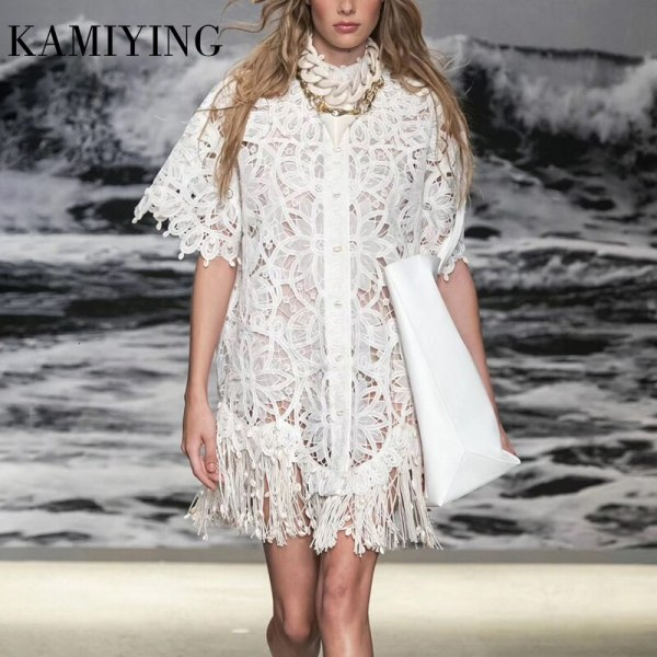 KAMIYING Hollow Out Lace embroidery Tassel Women's Dress Stand Collar Half Sleeve High Waist Mini Dresses Female Fashion