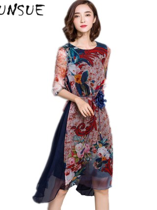 O-neck High Quality Vestidos Vintage Dress Floral Print Silk Dress Half Sleeve Loose Summer Dresses Casual Women Clothing FYY341