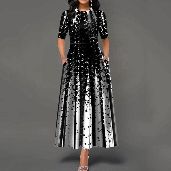 Women 19 Elegant Lady Party Dinner Midi Robe High Waist Bandage Print African Christmas Dress Vestiods Half Sleeve Dress