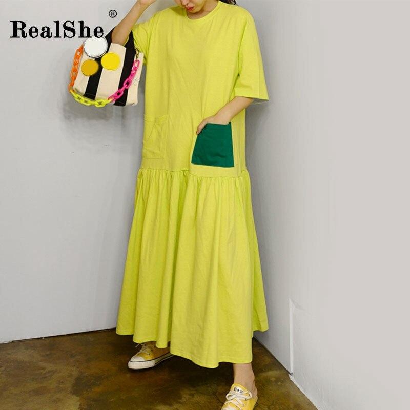 RealShe Women Maxi Dress O-Neck Short Sleeve Loose Long Dress Elegant Spring Casual Women Dress  Summer Dresses Casual