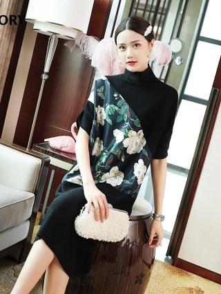 Turtleneck Sweater Dress 19 Autumn Style Women Vintage Flower Print Patchwork Half Sleeve Mid-Calf Length Knitted Dress Female