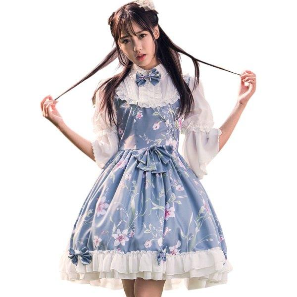 Fairy Princess Lolita Dress Vintage Chinese Style Floral Printed Half Sleeve Lolita OP Dress