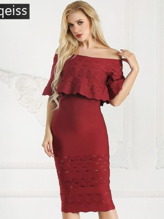 19 New Summer Half Sleeve Midi Bandage Dress Fashion Off Shoulder Long Dress Red Party Ruffle Hollow Out Bodycon Dresses Women