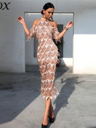 IFox Charming Halter Neck Tassel Sequined Women Dress Elegant Half Sleeve Female Party Dress Vestdios WD9121701