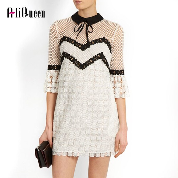Summer 19 Self Portrait Dress Half Flare Sleeve Bow Turn-down Collar Runway White Lace Patchwork Hollow Out Sexy Party Dress