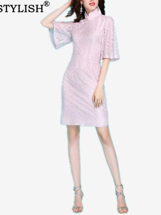 Early Spring New Vintage Elegant Women's Pink Soft Lace Slim Flare Half Sleeve Lady Cheongsam Chinese Style Sheath Dress