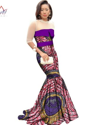 African Dresses for Women Dashiki African Print Clothing Half Sleeve Mermaid Dress Maxi Dress BRW Plus Size 6XL WY2318