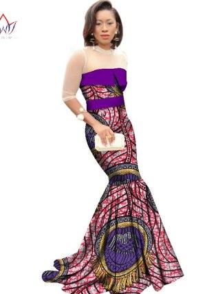African Dresses for Women Dashiki African Print Clothing Half Sleeve Mermaid Dress Maxi Dress BRW Plus Size 6XL WY2318