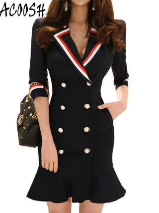 High Quality 18 New Spring Women's Notched collar Half Sleeve Double-breasted Pleated Temperament Dress Long Suit Jacket