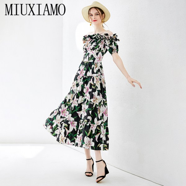 MIUXIMAO Top Quality 19 Fall Dress Lily Flower Ptint Half Sleeve Dress Ruffles Eleghant Cotton Casual Dress Women Vestidos